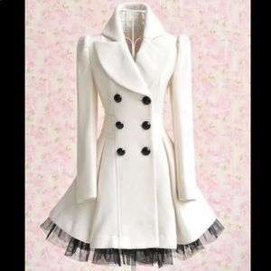 Winter White Flare Peacoat Pea Coat Jacket Peplum